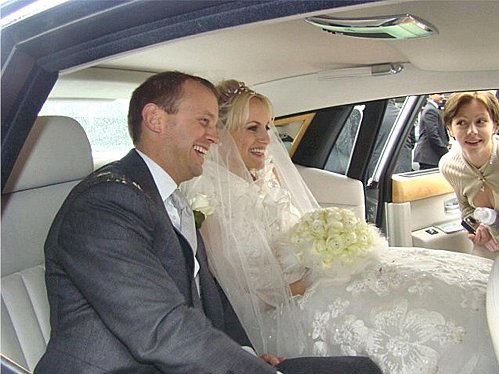 Bride & Groom inside hired wedding Limo.